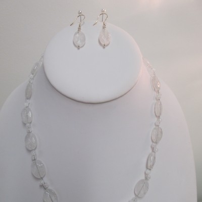 Crackled quartz, faceted ovals (set)