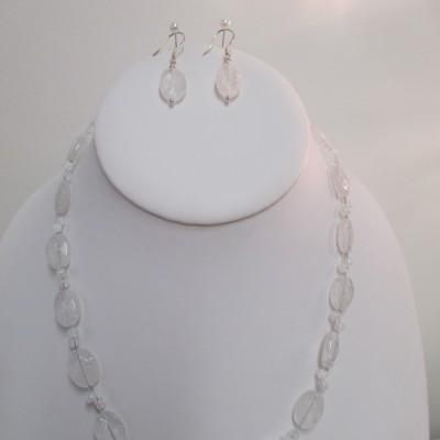 Crackled quartz, faceted ovals (set)