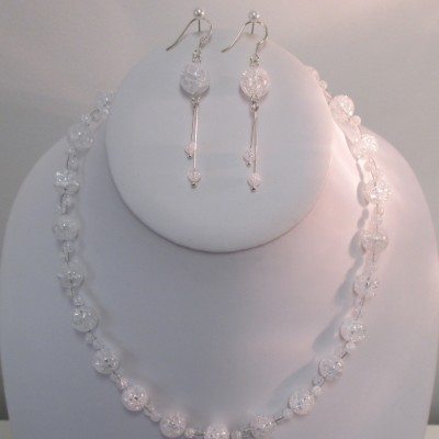 Crackled quartz, faceted ovals set