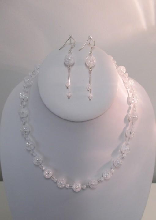 Crackled quartz, faceted ovals set