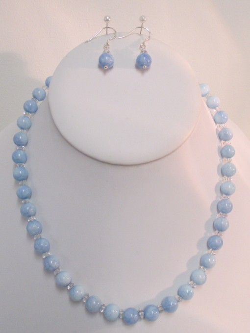 Aqua blue and clear quartz set‏