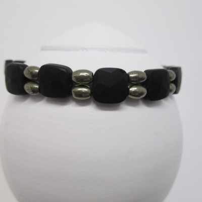 Frosted black onyx and pyrite bracelet side