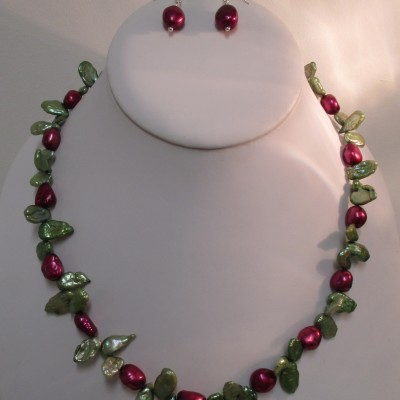 Green and fuchsia pearl set‏
