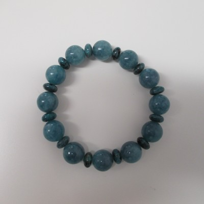 Teal quartz and jasper bracelet‏