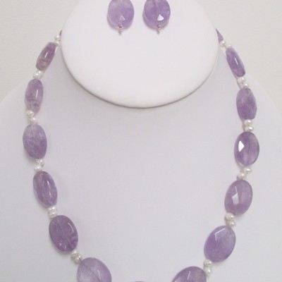 Lavender amethyst and pearl set