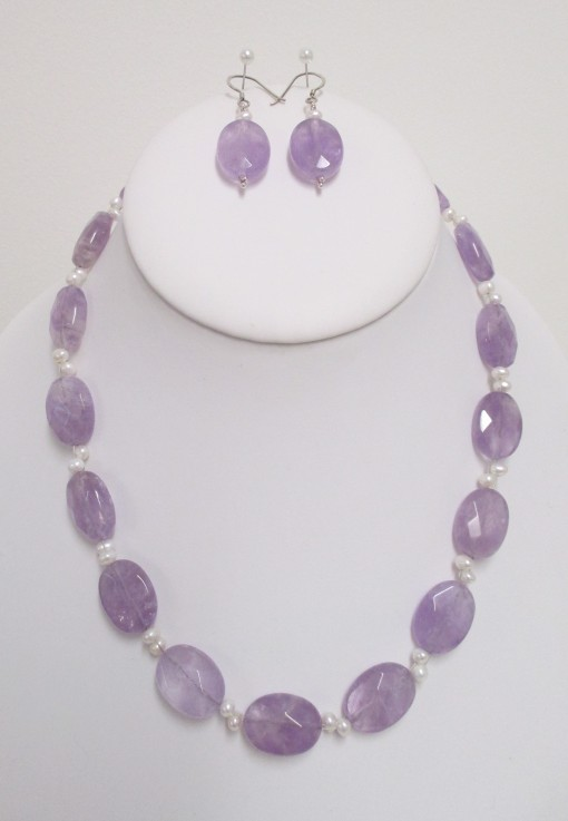 Lavender amethyst and pearl set‏