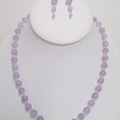 Lavender amethyst and clear quartz set‏