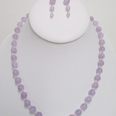 Lavender amethyst and clear quartz set