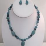Teal quartz and jasper earrings