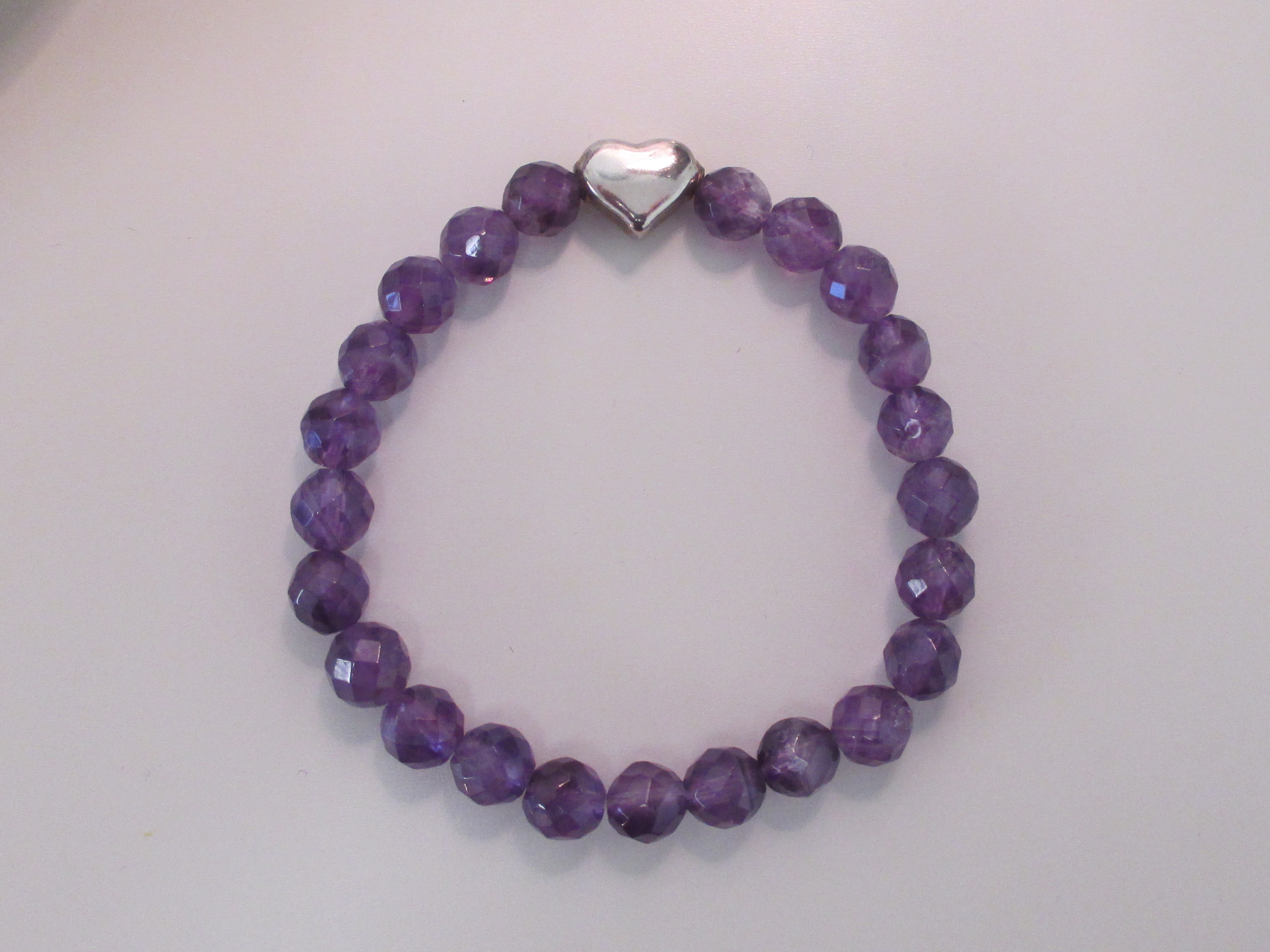 amethyst bracelet with sterling silver bead made