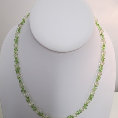 Delicate citrine and peridot necklace‏