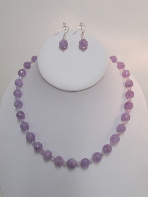 Lavender amethyst set, faceted rounds‏