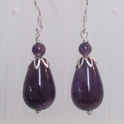 Amethyst drop earrings‏