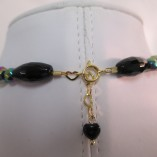 Black agate and rainbow hematite necklace detail