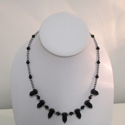"Black agate ""pencils"" and silver coated hematite necklace‏"