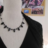"Black agate ""pencils"" and silver coated hematite necklace‏ store"