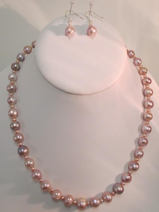 Peachy pink pearl set