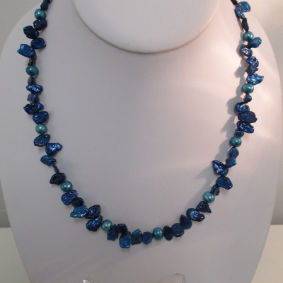 Midnight blue and teal pearls‏
