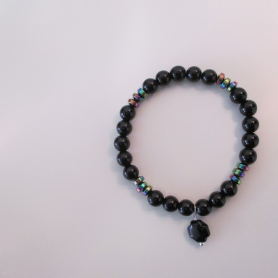 Black agate and rainbow hematite bracelet‏