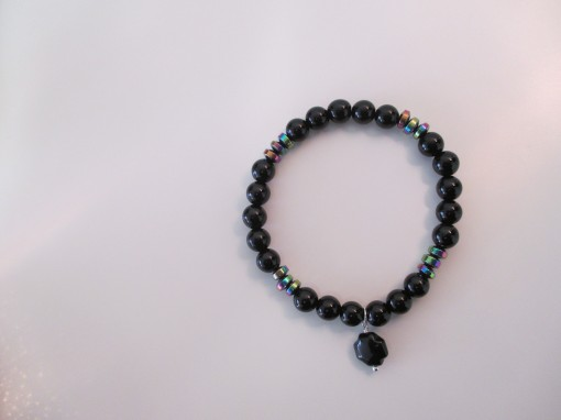 Black agate and rainbow hematite bracelet