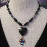 Black agate and rainbow hematite necklace‏