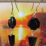 """Black """" Swiss cross"""" agate earrings landscape"""