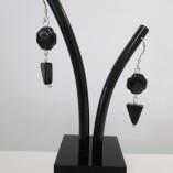 """Black """" Swiss cross"""" agate earrings"""