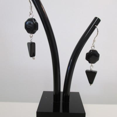 "Black "" Swiss cross"" agate earrings‏"