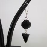"""Black """" Swiss cross"""" agate earrings detail"""
