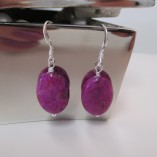 Fuchsia pink jasper earrings detail