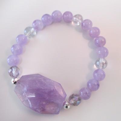 Lavender amethyst bracelet with large centrepiece