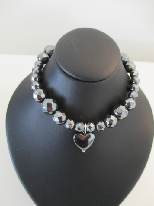 Hematite bracelet with heart charm‏ featured