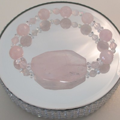 Rose and clear quartz bracelet with large centrepiece‏ featured