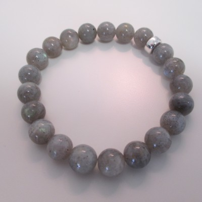 Labradorite rounds and sterling silver bead bracelet‏ featured