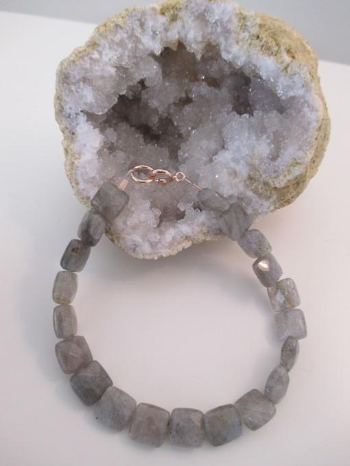 Labradorite and rose gold bracelet set