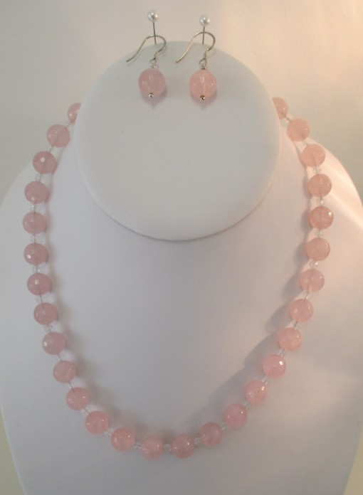 Rose Quartz And Clear Quartz Necklace Or Set Made By