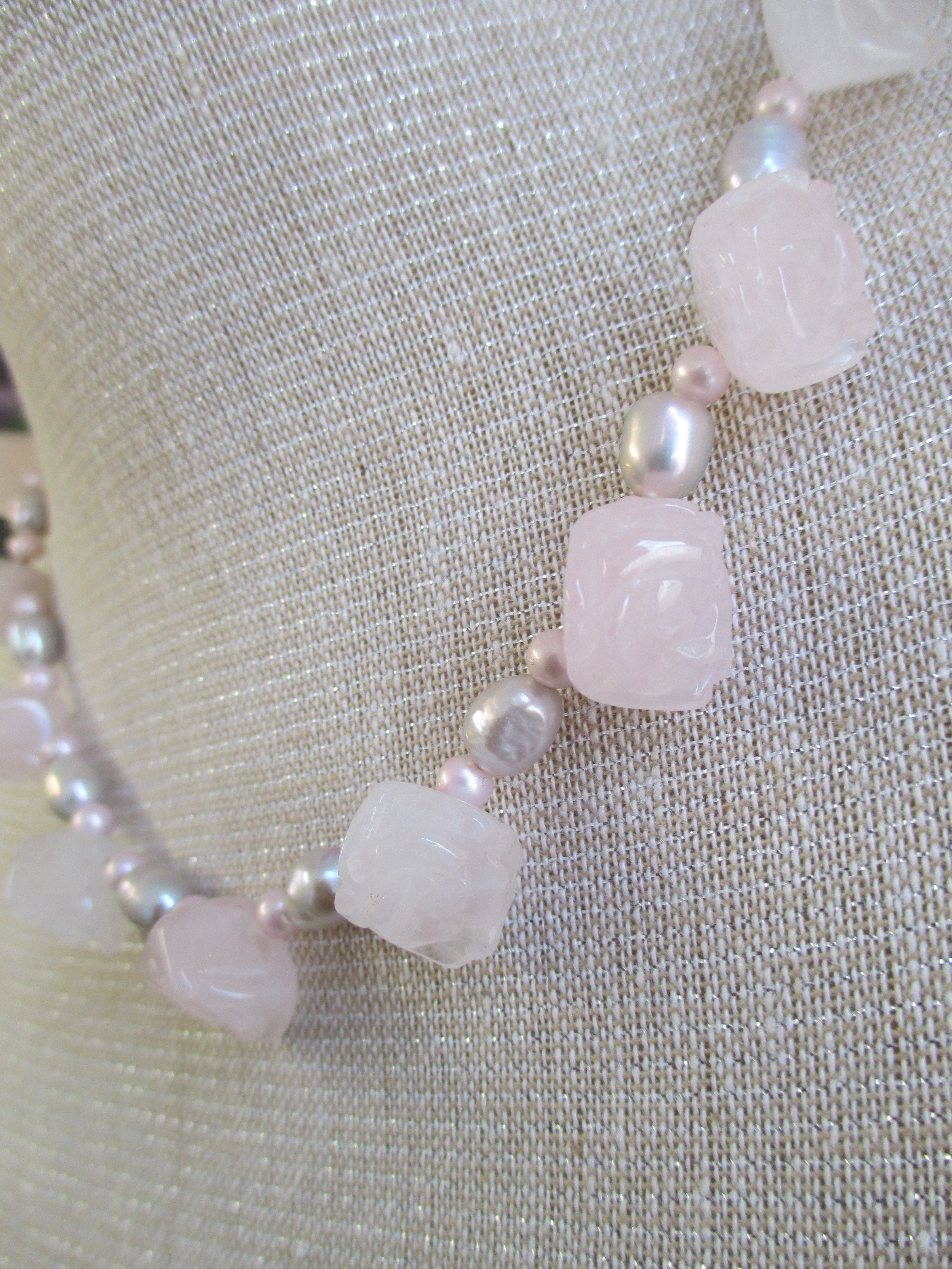 Rose Quartz Roses And Pearl Necklace Made By Marianne