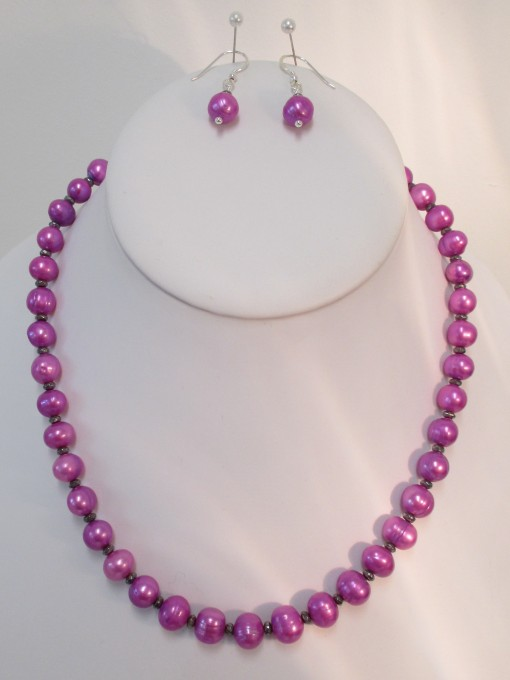Pink pearls and pyrite set‏