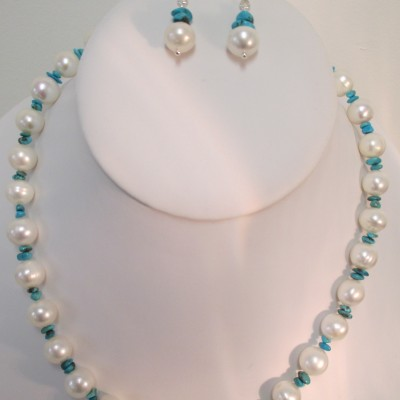 Pearls and turquoise set