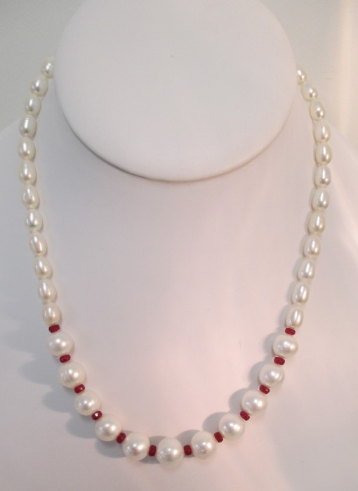 Pearls and ruby necklace‏