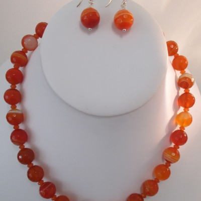 Orange banded agate set‏