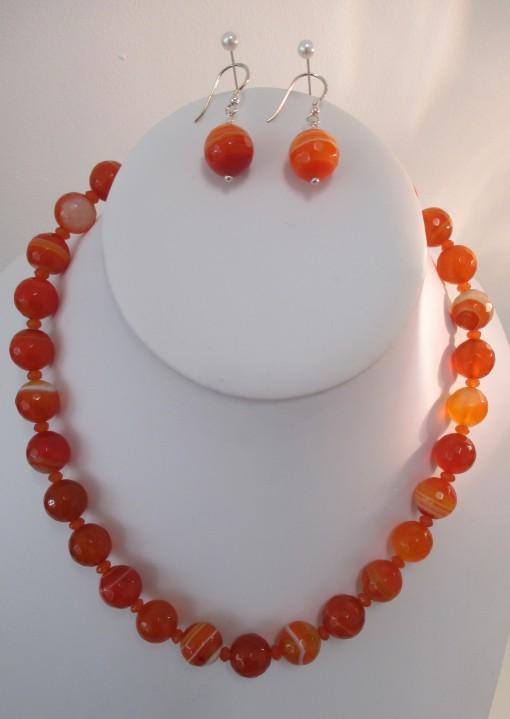 Orange banded agate set