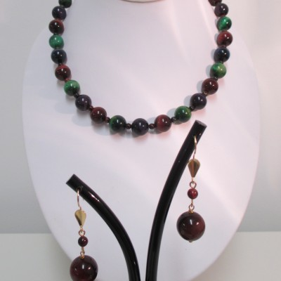 Forest coloured tigers eye necklace or set‏