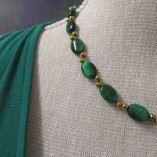 Green tigers eye and gold coated hematite necklace detail
