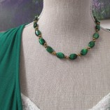 Green tigers eye and gold coated hematite necklace