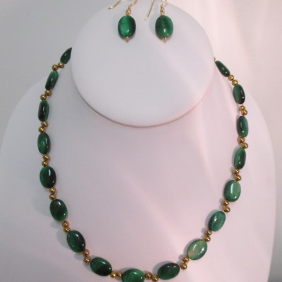 Green tigers eye and gold coated hematite necklace or set‏