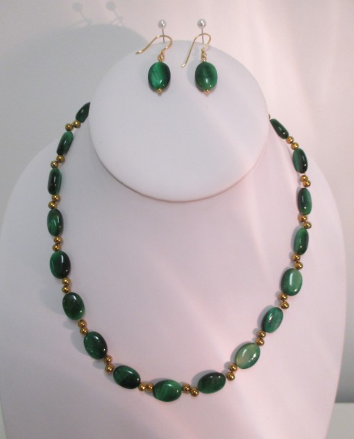 Green tigers eye and gold coated hematite necklace or set