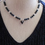 Blue tigers eye and quartz necklace with Swarovski heart pendant‏