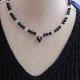 Blue tigers eye and quartz necklace with Swarovski heart pendant