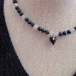Blue tigers eye and quartz necklace with Swarovski heart pendant close
